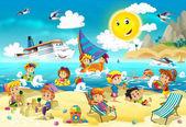 Děti hrají na pláži, potápění, budova v písku