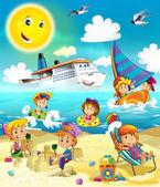 A gyerekek a strandon, búvárkodás, építési homok