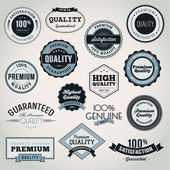 Collection of Premium Quality and Guarantee labels and badges