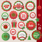 Set of vector badges and elements for Christmas and New Year