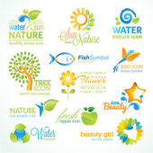 Set of vector icon for nature food and drink beauty cosmetics spa organic product animals flowers and tree