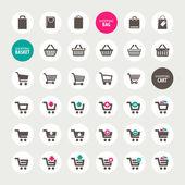 A bevásárló kosár, kosár- és táska ikonok beállítása