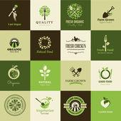 Sada ikon pro organické potraviny a restaurace