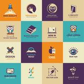 Conjunto de iconos de arte y educación