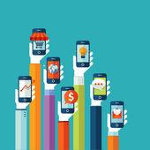 Lapos vektoros illusztráció koncepció a mobil alkalmazások