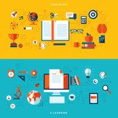 Plochý design vektorové ilustrace koncepce vzdělávání a učení online