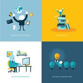 Sada plochý design koncept ikon pro podnikání