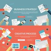 Sada plochý design konceptů pro obchodní strategii a tvůrčí proces