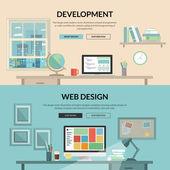 Sada plochý design konceptu pro vývoj webových aplikací