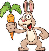Cute cartoon rabbit holding a carrot Vector illustration with simple gradients All in a single layer