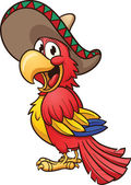 Cartoon Mexican parrot Vector clip art illustration with simple gradients All in a single layer
