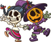 Dia de muertos and Halloween characters holding hands Vector clip art illustration with simple gradients All in a single layer