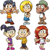 Cute cartoon boys and girls Vector clip art illustration with simple gradients Each in a separate layer