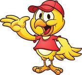 Cartoon chicken wearing a baseball cap Vector clip art illustration with simple gradients