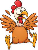 Scared cartoon chicken Vector clip art illustration with simple gradients All in a single layer