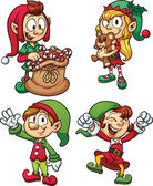 Cartoon Christmas elves Vector clip art illustrations with simple gradients Each in a separate layer for easy editing
