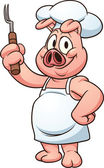 Cartoon chef pig Vector clip art illustration with simple gradients All in a single layer