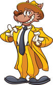Pachuco wolf in a yellow zoot suit Vector clip art illustration with simple gradients All in a single layer