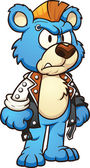 Punk cartoon bear wearing a mohawk Vector clip art illustration with simple gradients All in a single layer