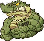 Angry strong crocodile mascot Vector clip art illustration All in a single layer