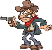 Cartoon gunslinger cowboy Vector clip art illustration with simple gradients All in a single layer