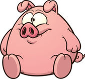 Fat pig clip art Vector cartoon illustration with simple gradients All in a single layer
