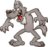 Big bad cartoon wolf Vector clip art illustration with simple gradients All in a single layer