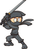 Cartoon ninja holding a sword Vector clip art illustration with simple gradients All in a single layer