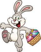Cartoon Easter bunny jumping with egg basket Vector clip art illustration with simple gradients All in a single layer