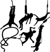 Bungee jumper vector silhouettes set Layered Fully editable
