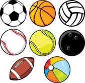 Míč kolekce - plážový míč tenisový míček, americký fotbal, fotbalový míč