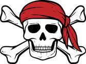 Pirátská lebka, červený šátek a kostí