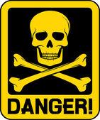 Vector danger sign with skull symbol