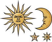 Sun crescent moon and stars
