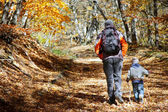 Father and son walking in autumn forest