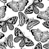 Krásná bezešvé pozadí motýlů černé a bílé barvy