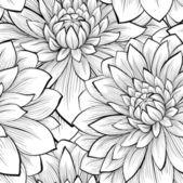 Beautiful seamless background with monochrome black and white flowers Hand-drawn contour lines and strokes