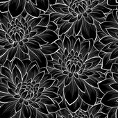 Beautiful seamless background with monochrome black and white flowers  Hand-drawn contour lines and strokes Perfect for background greeting cards and invitations to the day of the wedding birthday and Valentine's Day