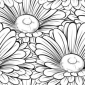 Beautiful seamless background with monochrome black and white flowers Hand-drawn contour lines and strokes Hand-drawn contour lines and strokes Perfect for background greeting cards and invitations to the day of the wedding birthday and Valentin