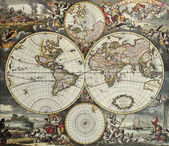 World hemispheres old map