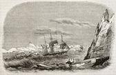Scoperta delle terre di louis-philippe e joinville isola Antartide di astrolabio e della zelee Corvette creato da lebreton, pubblicata su magasin pittoresque, Parigi, 1842