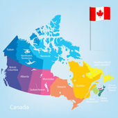 Colorful Canada map with provinces Vector illustration