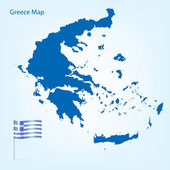 Detailed Greece map in blue color with national borders Vector illustration