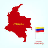 The illustration of Colombia map with national flag Vector Image