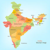 Detailed vector map of India with states borders