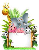 Vicces állati rajzfilm üres jel beállítása