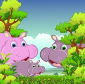 Vector illustration of family of hippo cartoon with forest background