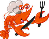 Vector illustration of Cartoon Chef shrimp with fork and knife