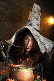 Halloween čarodějnice vaření v měděný kotlík