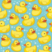 Rubber duck on blue mesh vector illustration seamless pattern background